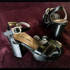 Black Satin Platform Heels with rhinestone buckle